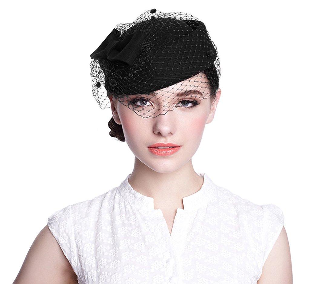 Aniwon Wool Pillbox Hat Retro British Style Cocktail Party Wedding Fascinator Veil Hat for Women