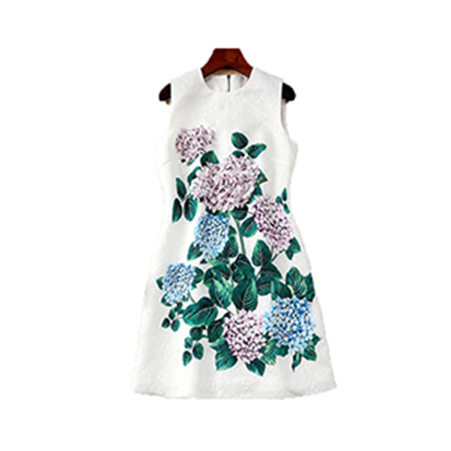520697899d1 Slim Summer Pretty Leaf Flower Print 3D Appliques White Sleeveless Dress  Women at Amazon Women s Clothing store
