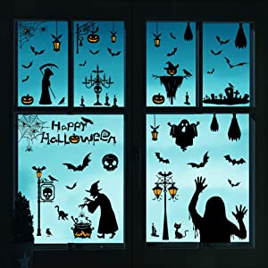 HONEYJOY 78 pcs Halloween Decorations Window Clings Bat Stickers Wall Decals Goth Decor Indoor Outdoor Party Supplies Pumpkins Spooky Cemetery Skeleton Spider Cats Gel Candlestick Witch Crow Tomb