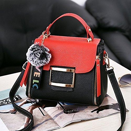 AASSDDFF Bolsas de Hombro de Lujo de la Marca de Moda de Mujer Bolsos de Mujer Casual Crossbody Bolsas para Mujeres de Lujo Messenger Bag HG72, Negro Rojo Negro rojo