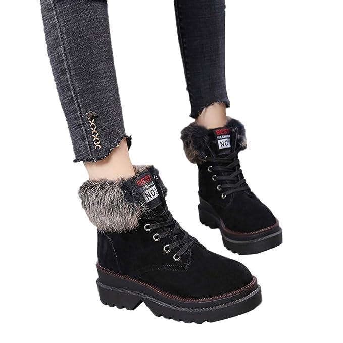 Zapatos Mujer Otoño Invierno Botas,JiaMeng Botas de Nieve con Cordones y con Cordones de Fondo Redondo Gruesos y Planos De Nieve Atada Zapatos: Amazon.es: ...