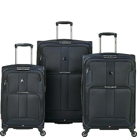a9e107ef09d5 Delsey Paris Luggage Sky Max 3 Piece Spinner Suitcase Set, Black