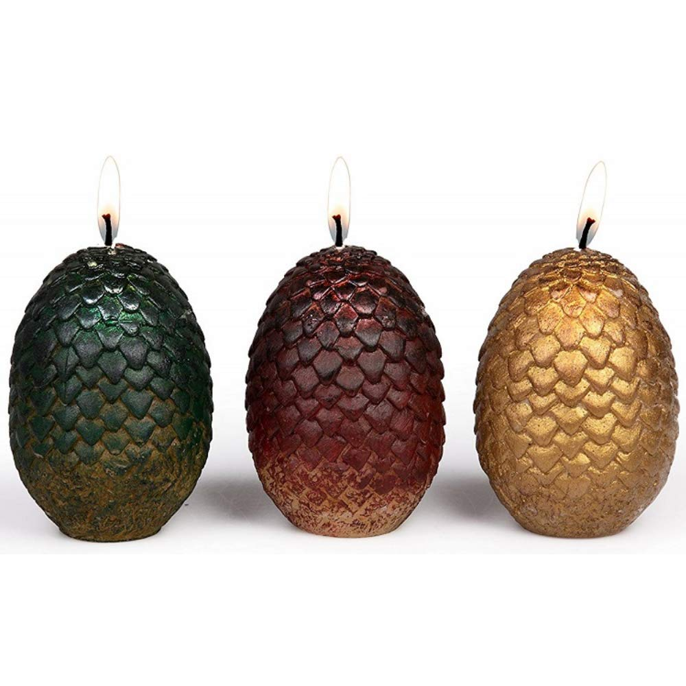 HBO Game of Thrones Dragon Egg Candles Bundle | Set of 3 Sculpted Eggs | Includes A Free Daenerys Targaryen Keychain | Perfect GoT Fan Gifts