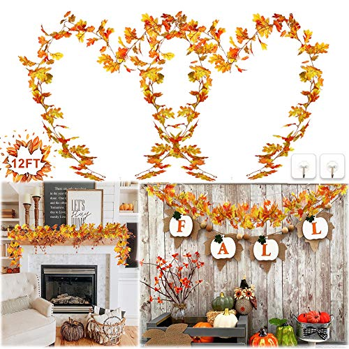 Gooidea 12FT Artificial Fall Maple Leaf Garland Indoor Outdoor Fall Thanksgiving Decorations Hanging Plant Garlands for Home Garden Porch Mantel Doorway from Gooidea