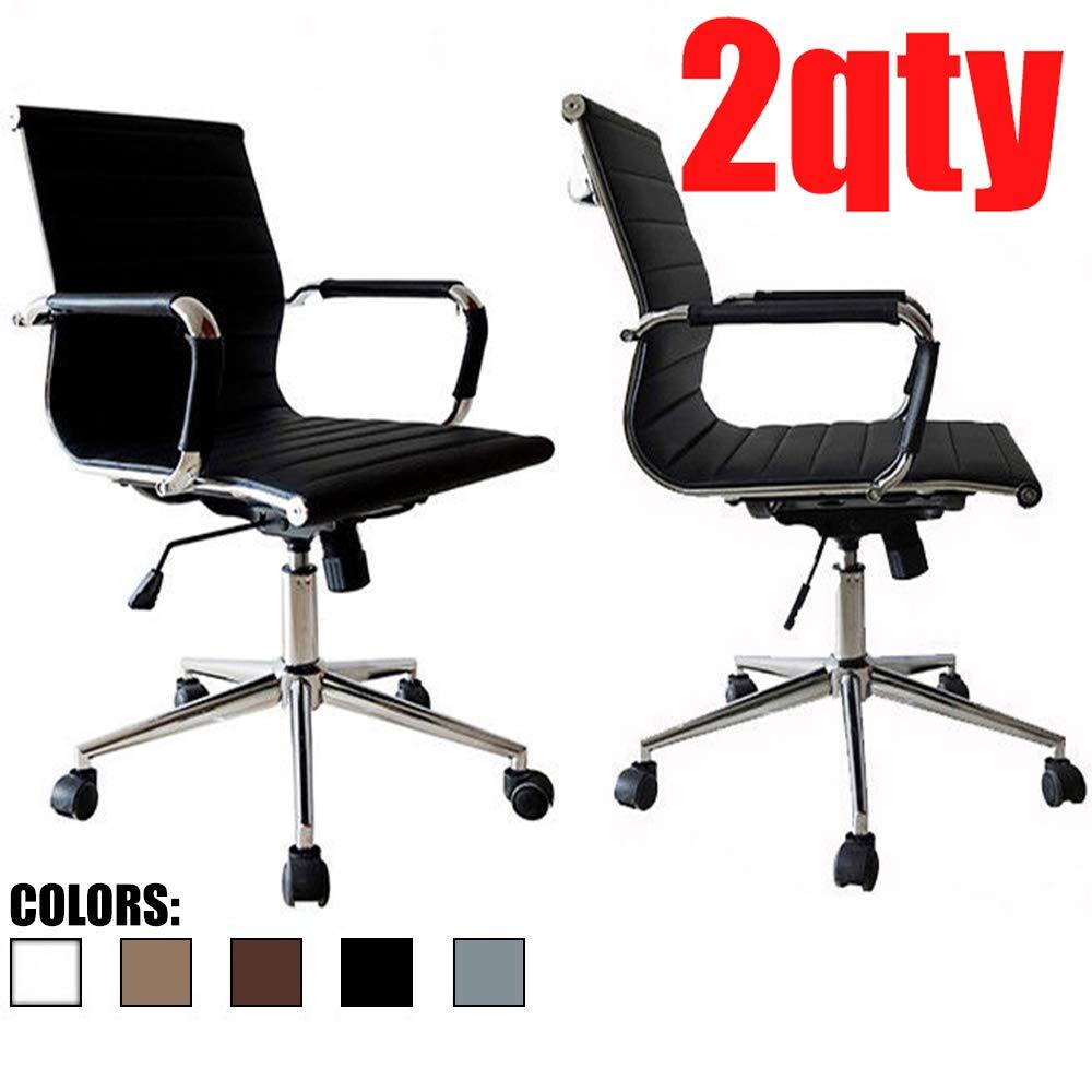 2xhome – Set of 2 Black Modern Mid Back Ribbed PU Leather Swivel Tilt Adjustable Chair Designer Boss Executive Management Manager Office Conference Room Work Task Computer