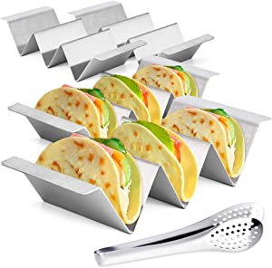 Taco Holder Set of 4 - Bermunavy Taco Holders Stainless Steel - Taco Trays - Taco Stand Up Holder - Taco Stand - Taco Plates - Bonus Stainless Steel Clip for Party and Home Enjoying Time