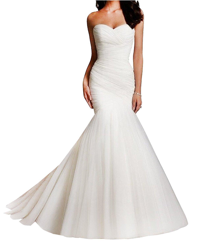 nafusenfushi Women Tulle Sweetheart Mermaid Bridal Wedding Dresses (Ivory, US14)