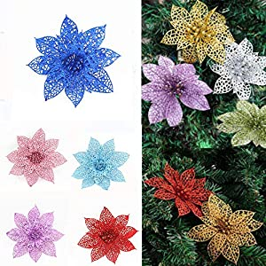 CANAFA-Home & Kitchen Artificial Flowers 10Pcs/Set Christmas Flowers Trees Xmas Decor Glitter Wed Birthday Party 10cm 107