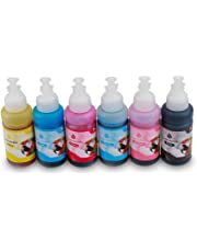 Bigger Compatible 664 Ink Bottles Replacement for Epson T664 used with EcoTank ET-2500 ET-2550 ET-2600 ET-2650 L555 Printers (Black, Cyan, Yellow, Magenta, Light Magenta, Light cyan, 6-Pack)