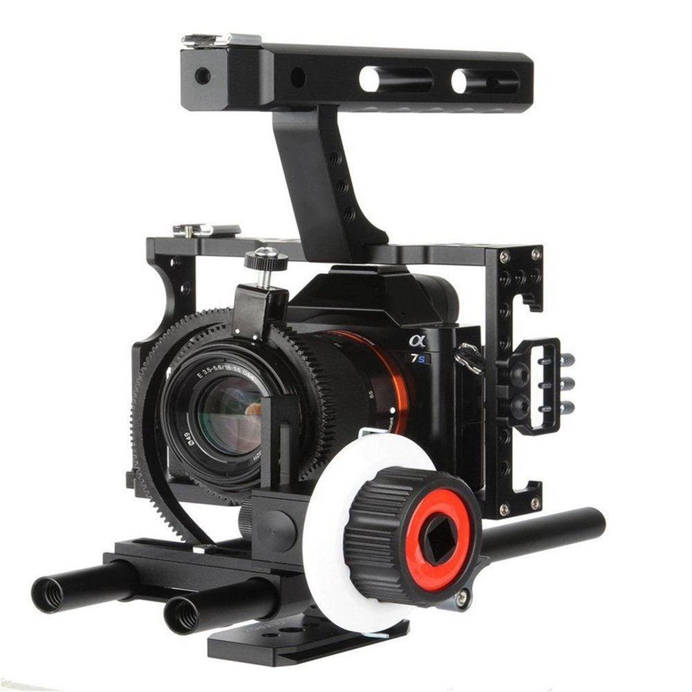 heaven2017 Professional Aluminum Alloy Follow Focus with Gear Ring Belt for Sony A7 Camera (Black) by heaven2017