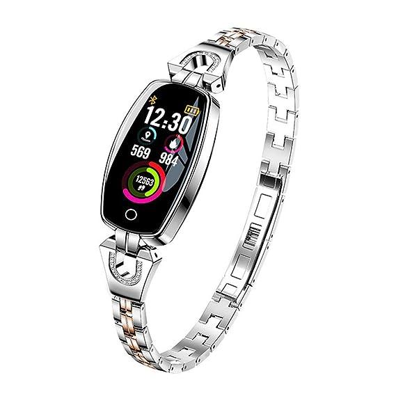 H8 Fashion Luxury Women Bracelet Smart Watch with Heart Rate Monitor Blood Pressure Pedometer Sleep Sport Activity Tracker Watch (Silver)
