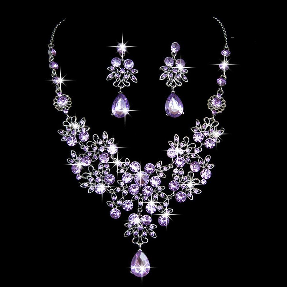 Gbell Clearance! Charm Wedding Bridal Crystal Necklace Earrings Jewelry Set Fine Rhinestone Women's Prom Jewelry Statement (Purple)