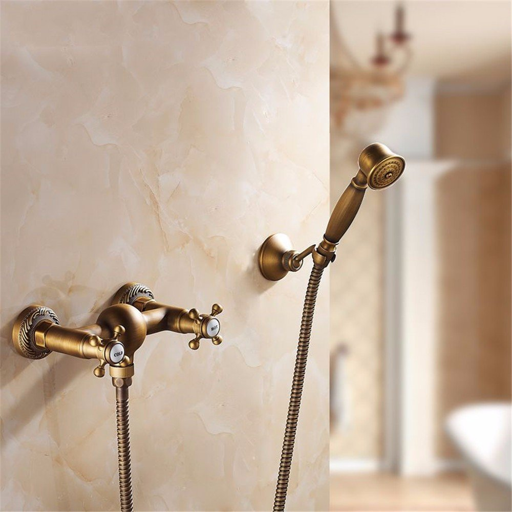 A Wall mounted Antique Brass bathtub taps, wall mounted bathroom taps, hand shower head and shower taps,C