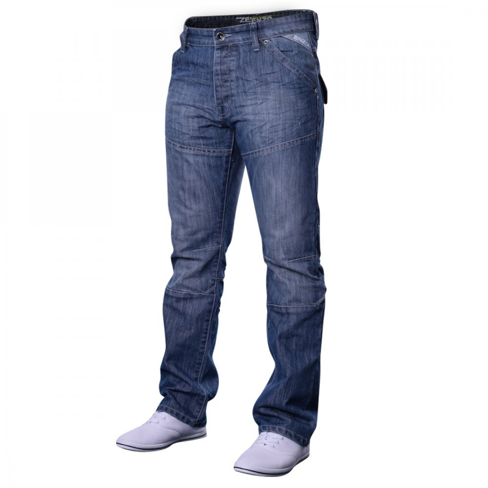 Men's Designer Enzo EZ243 EZ244 Jeans Light Dark Blue Black Grey Straight Leg Enzo Jeans