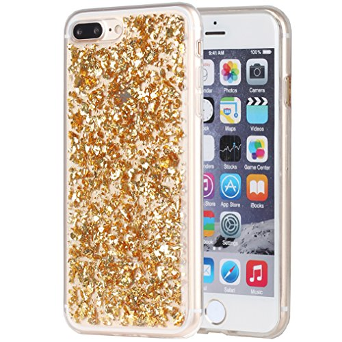 iPhone 8 Plus Case, iPhone 7 Plus Case, iYCK Bling Glitter Sparkle [Gold Foil Embedded] Flexible Sof - http://coolthings.us