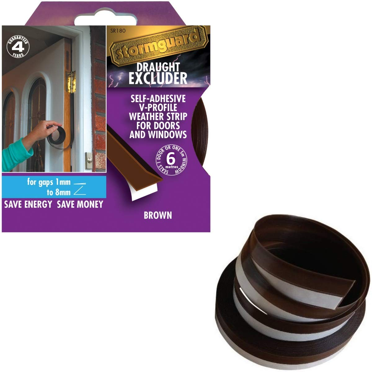 Stormguard 05SR180005MB 5m Self-Adeshive ' V ' Seal Tape Draught Excluder - Brown