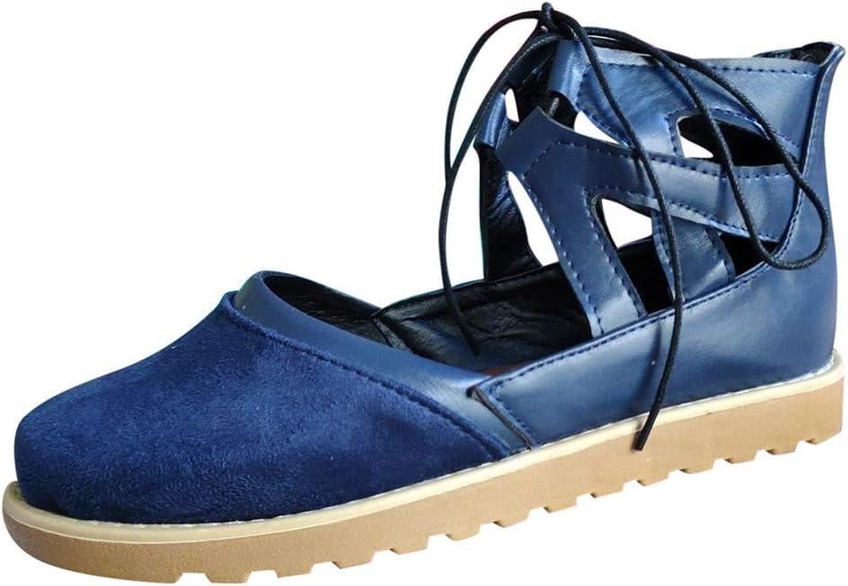 ღLILICATღ Botines de Ante para Mujer con Cordones Verano Cómodos Casual Retro Plano Sandalias Zapatos de Playa 2019: Amazon.es: Deportes y aire libre