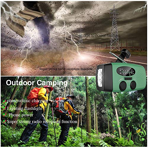 Emergency Hand Crank Self Powered AM/FM NOAA Solar Weather Radio with LED Flashlight, 1000mAh Power Bank Compatible for iPhone/Smart Phone by LeVcoecam (Image #6)