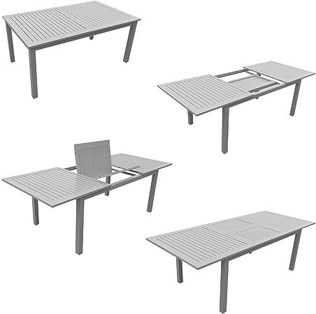 Beneffito Kauai - Conjunto Muebles de Jardín - Mesa de Comedor Extensible de 172 a 240 cm - 8 Sillas - Textilene Negro - Aluminio Gris - Resistente a la Intemperie - Fácil Mantenimiento: Amazon.es: Jardín