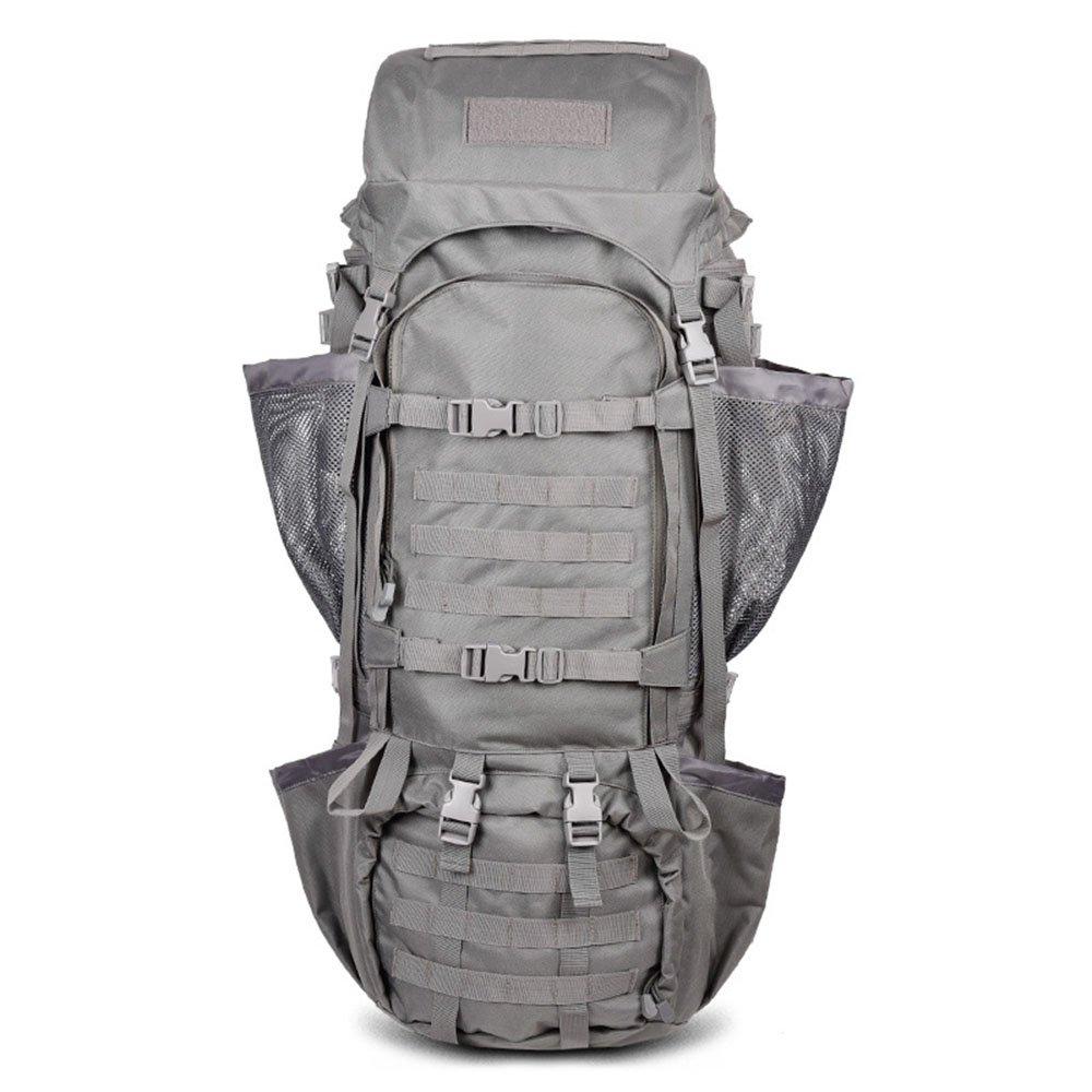 毎日の家 屋外ハイキングバックパック、防水戦術リュックサック屋外スポーツ旅行トレッキングランニングメンズ大容量110L (色 : Gray)  Gray B07QGQ19BV