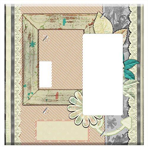 1-Toggle 1-Rocker/GFCI Combination Wall Plate Cover - Background Scrapbook Template Retro Sepia Com