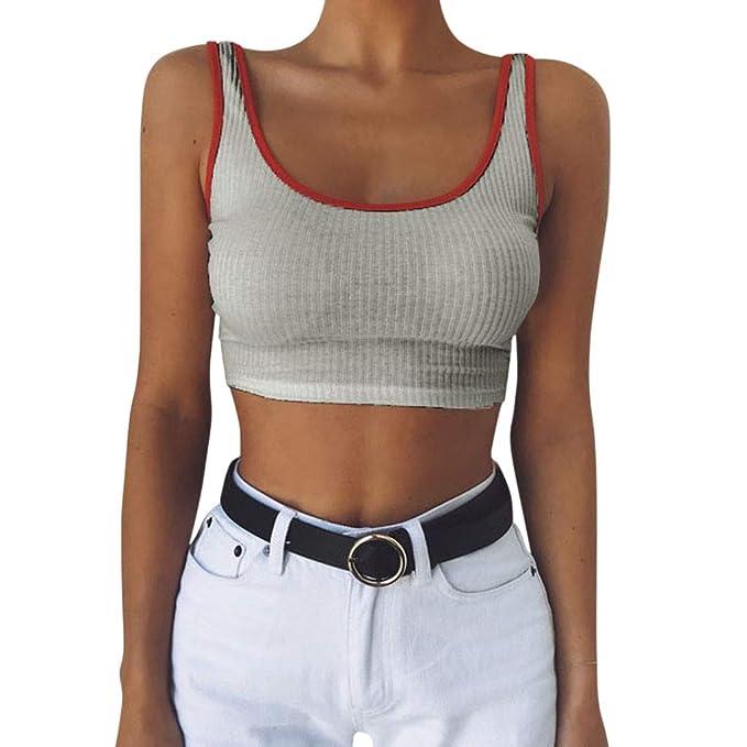 Damen Tanktop Piebo Frauen T-Shirt Ärmellose Bluse Camisole Tank Tops V-Ausschnitt Shirt Outdoor Sport Fitness Running Traini