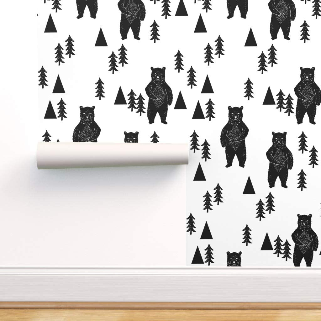 Removable Water-Activated Wallpaper Birch Forest Woodland Trees