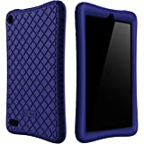 Bear Motion Silicone Case for Fire 7 2017 - Anti Slip Shockproof Light Weight Kids Friendly Protective Case for Amazon Kindle Fire 7 2017 (Dark Blue)