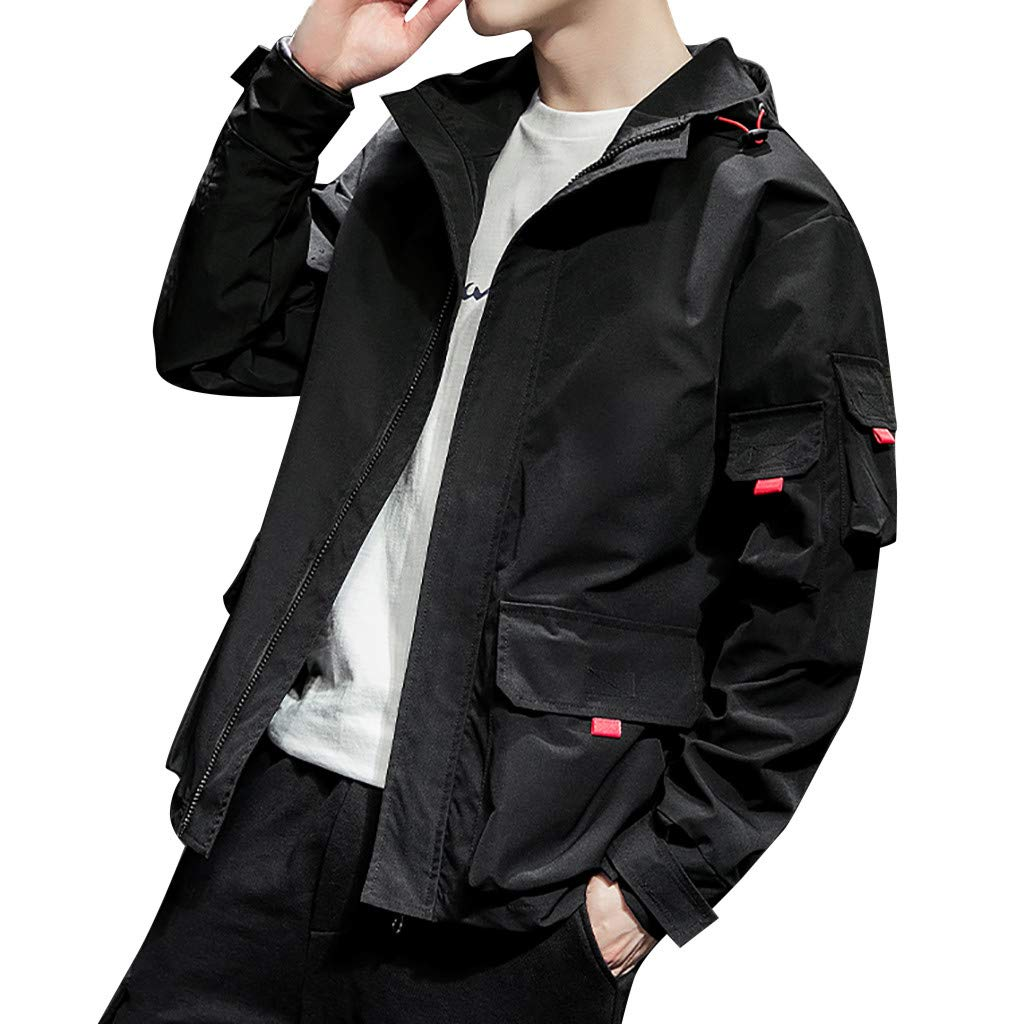 SNOWSONG Mens Hooded Outwear Lightweight Utility Zip up Jacket Casual Autumn Coat Black by SNOWSONG