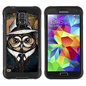 Hybrid Anti-Shock Defend Case for Samsung Galaxy S5 / Cool Owl Detective