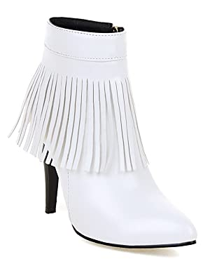 YE Women's High Heel Pointed Toe Stiletto Fringe Ankle Boots with Zip Autumn Winter Fashion Elegant Shoes