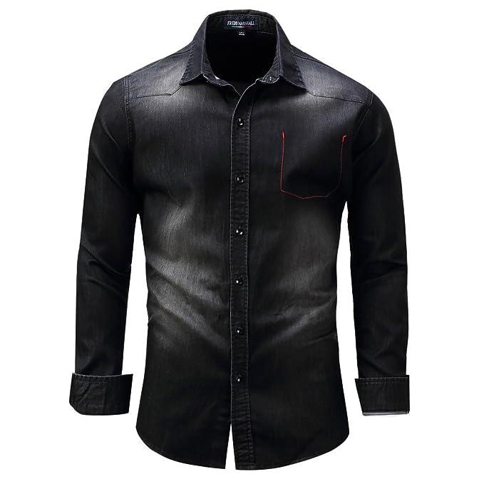 Camicia Uomo LandFox Slim Fit Denim Tinta Unita Maglietta a