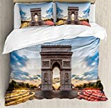 European Duvet Cover Set King Size by Ambesonne, Paris Famous Champs Elysees Avenue Historical Monument French Culture Panorama, Decorative 3 Piece Bedding Set with 2 Pillow Shams, Multicolor