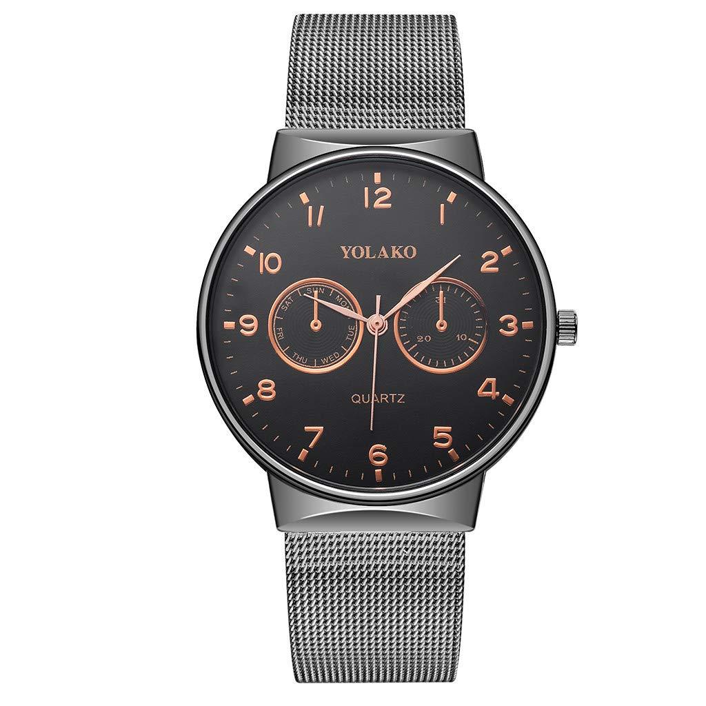 Boyfriend Wrist Watch,iMakcc YOLAKO Wrist Watch Stainless Steel Solid Color Watch (Black)