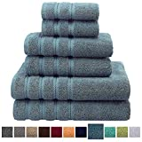 hotel artwork - Premium, Luxury Hotel & Spa Quality, 6 Piece Kitchen and Bathroom Turkish Towel Set, 100% Genuine Cotton for Maximum Softness and Absorbency by American Soft Linen, [Worth $72.95] (Colonial Blue)