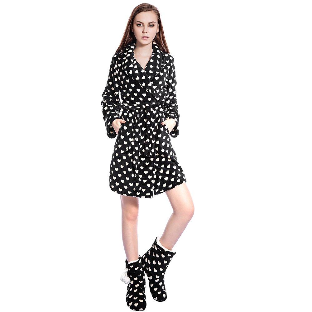 FRALOSHA Ladies Bathrobe Stylish Bathrobe and Boots Wool Slippers, a Set of Warm Winter Clothing (Black) (S, Black)