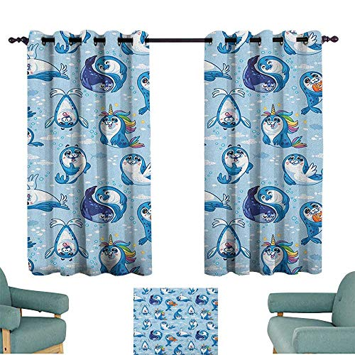 Sea Animals Soft Curtain Seal Pup Cartoon Aquatic Wildlife Friendly Hugging Water Bubbles Kids Suitable for Bedroom Living Room Study, etc.63 Wx72 L Blue White Marigold