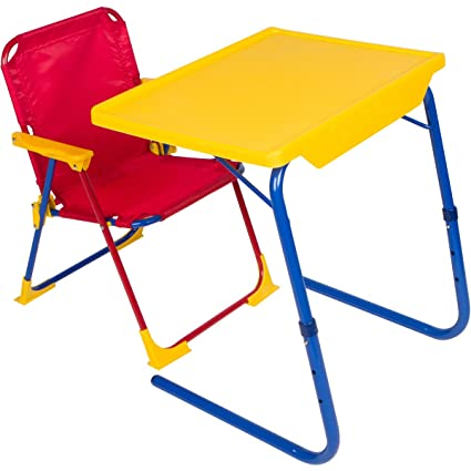 Table Mate 4 Kids Plastic Folding Table And Chair Set (Red/Blue/
