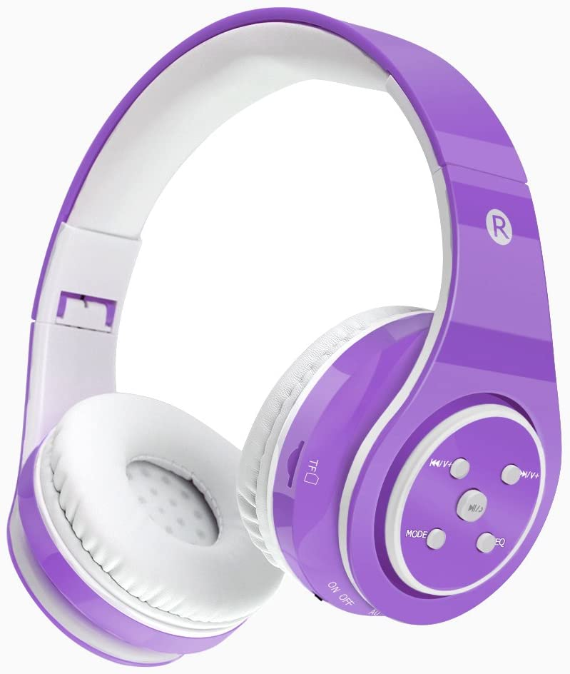 Kids Bluetooth Headphones Wireless/Wired Safe Volume Limited Headphones,Long Playing Time 7-9h,SD Card Slot,Stereo Sound,Hands Free Caall,Compatiable for Ipad Cellphone Pc Tablet(Purple)