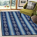 Winter, Area Rug Bedroom, Traditional Scandinavian Needlework Inspired Pattern Jacquard Flakes Knitting Theme, Door Mat Increase 5x7 Ft Blue White