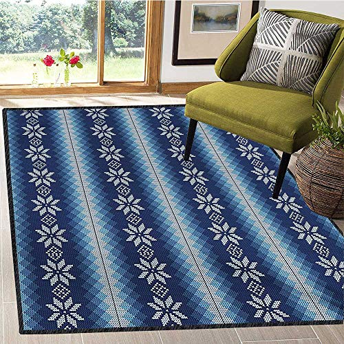 Winter, Area Rug Boys Room, Traditional Scandinavian Needlework Inspired Pattern Jacquard Flakes Knitting Theme, Door Mats for Inside Non Slip Backing 5x8 Ft Blue White by lacencn (Image #6)