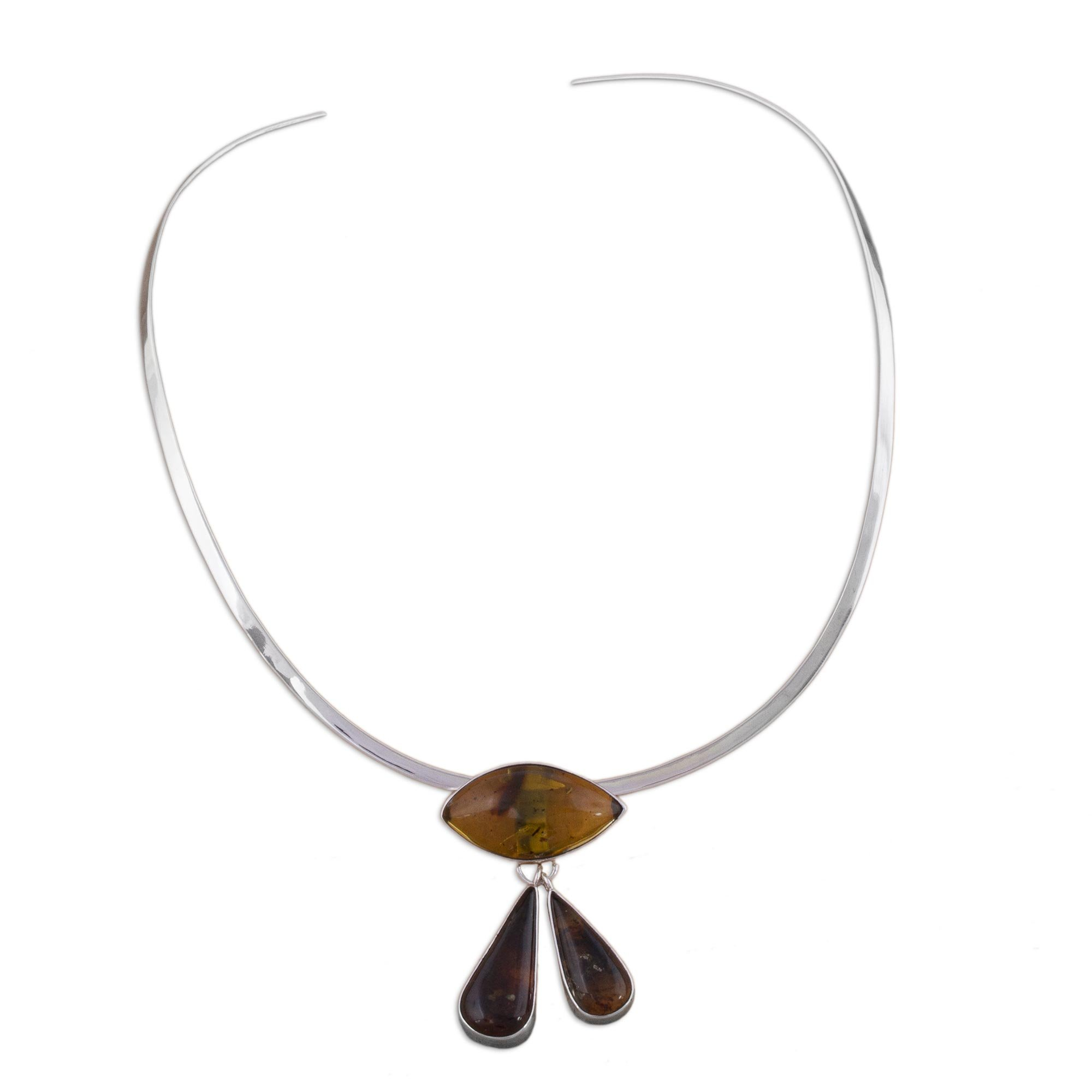 NOVICA Amber .925 Sterling Silver Choker Necklace, 13.5'' 'Eye of God'