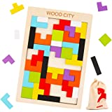 Wooden Tetris Puzzle for Toddlers 3 Years Old, WOOD CITY Tangram Jigsaw Puzzle, Brain Teasers Toy, Stem Toys with Colorful 3D Russian Blocks,Montessori Educational Kids & Adults (40 PCS)