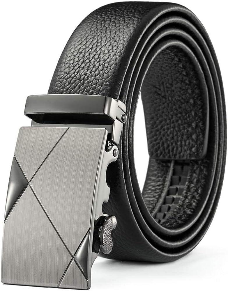 Mens Adjustable Automatic Ratchet Buckle Belt for Party Work Active Waist Belt Dress Belt Buckle Black,E,120cm
