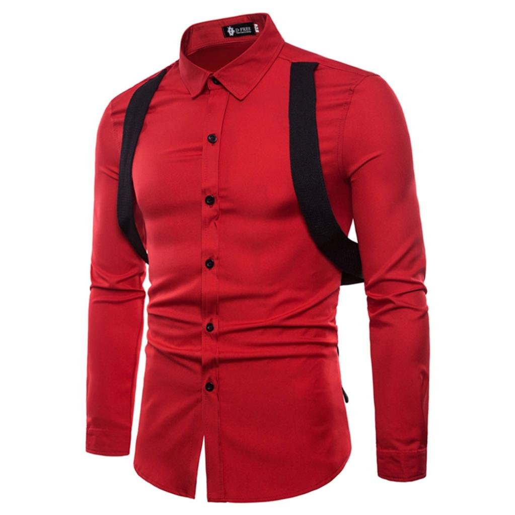 Clearance Sale! Wintialy Mens Long Sleeve Oxford Formal Casual Suits Slim Fit Tee Dress Shirts Blouse Top