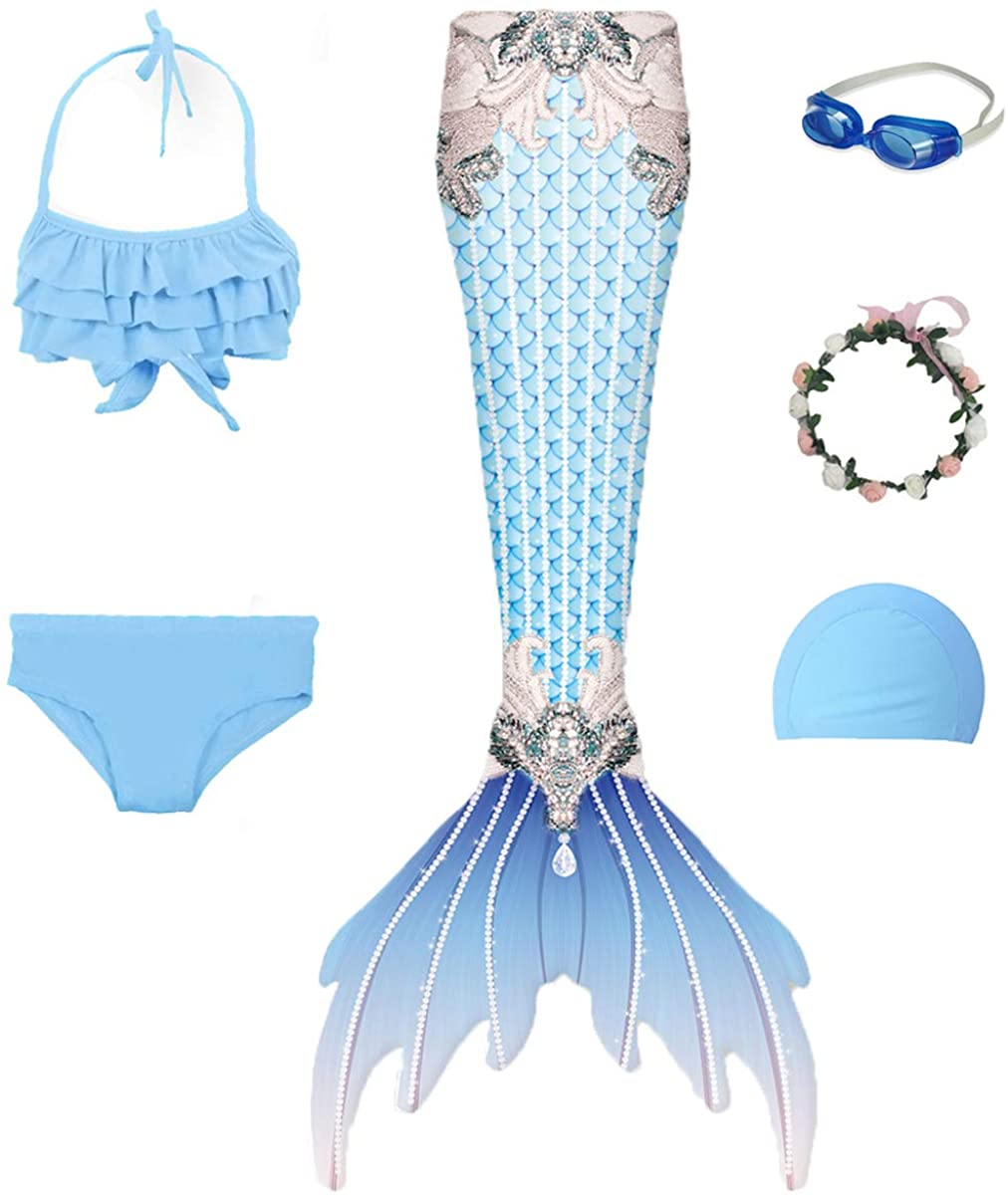 Gesikai01 6PCS Set Swimsuit Girls Mermaid Tails for Swimming Bathing Suit Swimwear Swimsuit Bikini Set Mermaid Costume