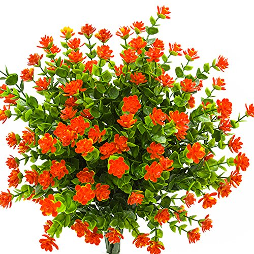 Artificial Flowers, Fake Outdoor UV Resistant Plants Faux Plastic Greenery Shrubs Indoor Outside Hanging Planter Home Kitchen Office Wedding, Garden Decor (Orange Red) (Best Hanging Flowers For Porch)
