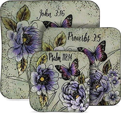 (AngelStar Butterfly Scripture 3 Piece Glass Plate Set)