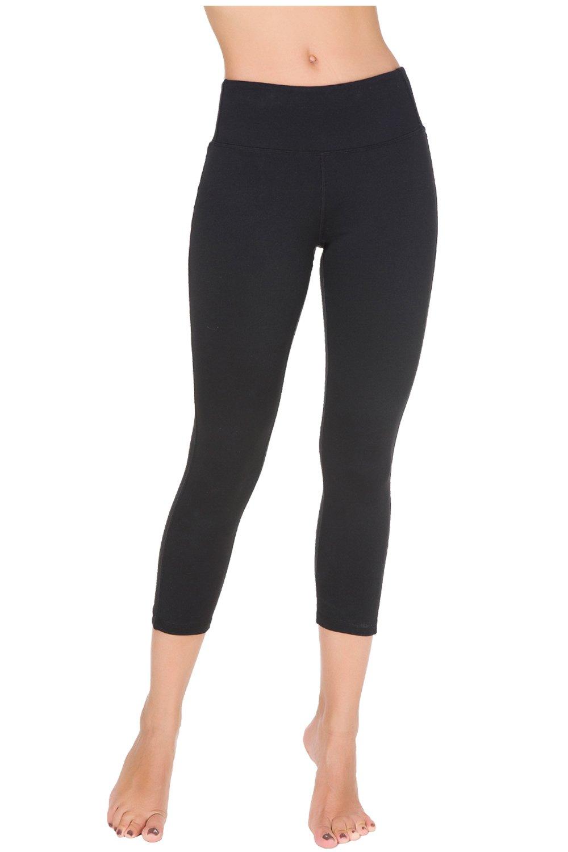 Bamans Yoga Pants Black Workout Capri Leggings for Women, Capri Skinny Leggings, High Waisted Tummy Control Design, Black L