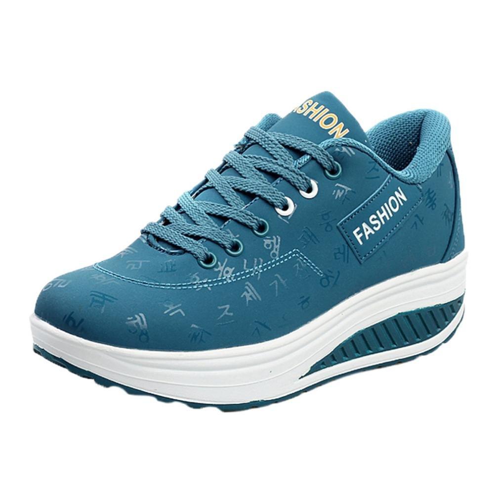 Lazzboy Damen Casual Sport Fashion Walking Wohnungen Swing Keile Schuh Innerhalb Heels  37 EU|Blau